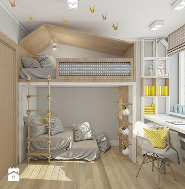 Stunning Loft Beds for a Kids' Room  Here're stunning loft beds for kids. Under it, there can be study desk, a play nook or a storage area for all the toys that take a lot of space in the room.  Check it out on today's post: https://petitandsmall.com/loft-beds-kids-room/