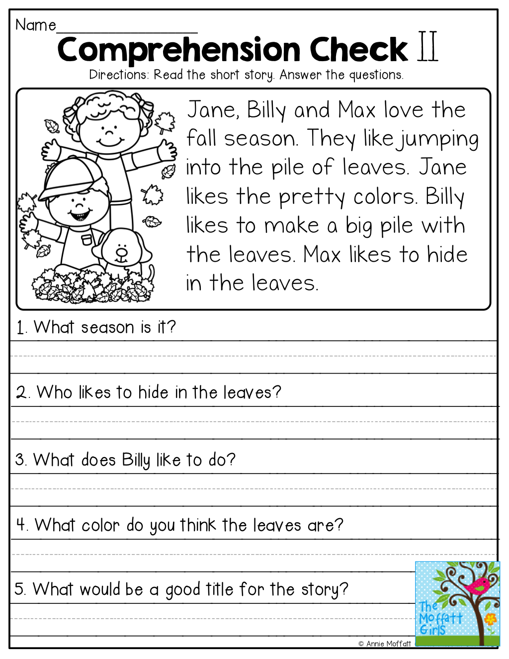 Comprehension Checks and so many more useful printables ...
