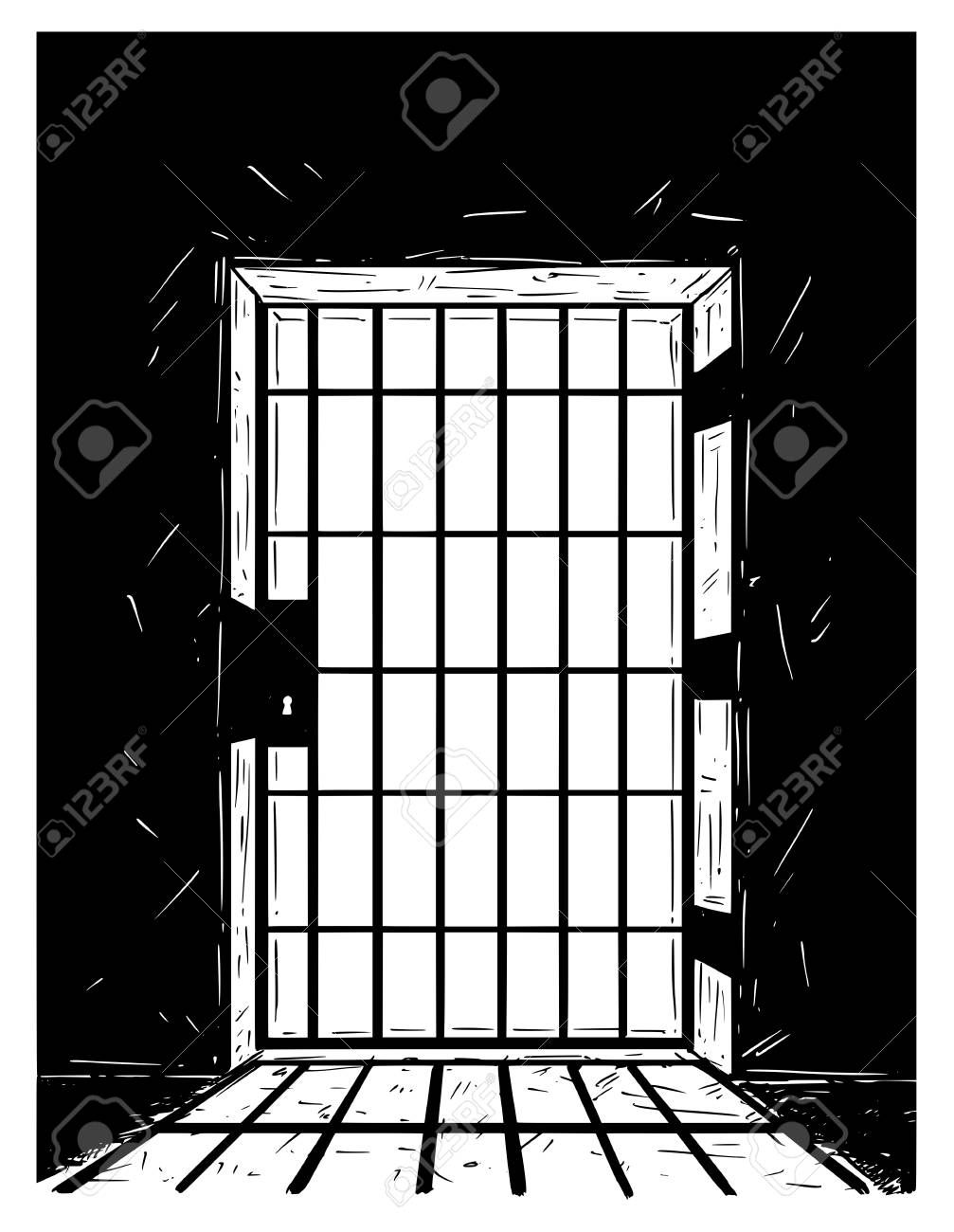 Cartoon Vector Doodle Drawing Illustration Of Prison Or Jail Door Made From Iron Bars Casting Shadow Sponsored Drawing Prison Drawings Prison Art Jail