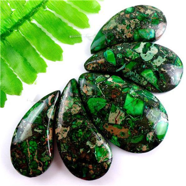 New!5pcs Charming Green Sea Sediment Jasper& Pyrite Pendant Bead Set L5JT3