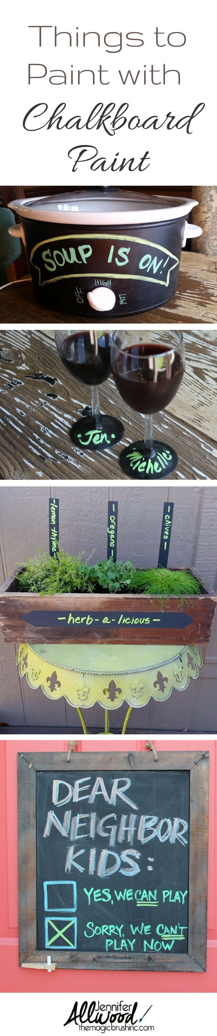 Things to paint with chalkboard paint. Make creative personlized gifts and home decor with chalkboard paint. How to paint with chalkboard paint and chalkboard paint ideas including painted wine glasses, herb gardens, crockpots and chalkboard signs by themagicbrushinc.com #painting #diy #diyhomedecor #homedecor #chalkboard #paint #howto