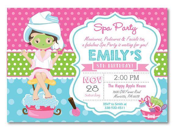 Spa Party Invitation Spa Birthday Party Invitation Pajama Party - Invitation birthday party girl