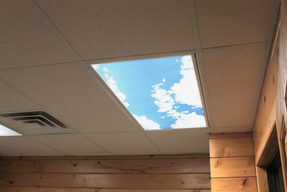 Custom Fit Decorative Fluorescent Light Covers Full Panels Diffuser Sky Clouds