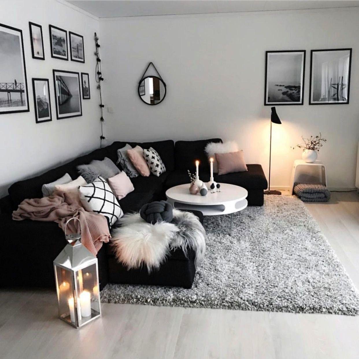 Roomblack Modern Living Black White Cozy Grey Pink Room