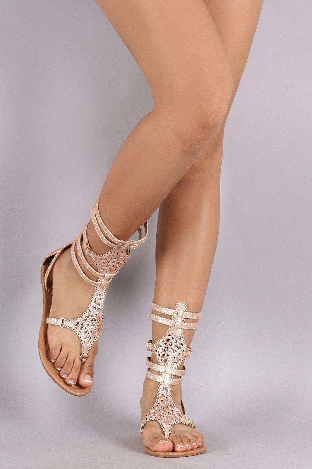 f544c196f Liliana Bejeweled Gladiator Flat Sandal