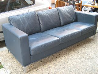 Modern Slate Blue Leather Sofa Blue Leather Couch Blue Leather