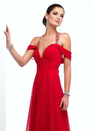 Chiffon Halter Red Off Shoulder Prom Formal Evening Dress HB141A