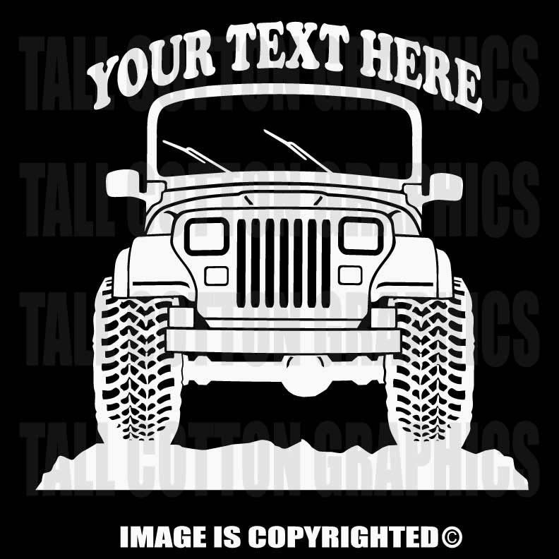 JEEP YJ WRANGLER X Personalized Vinyl Decal OR - Custom windo decals for jeepsjeep wrangler side decals and stickers jeep gear partsmods
