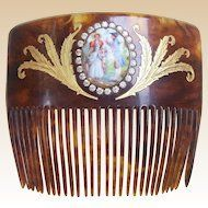 Matched pair single prong hair combs faux tortoiseshell gilded hair accessoriesaccessories