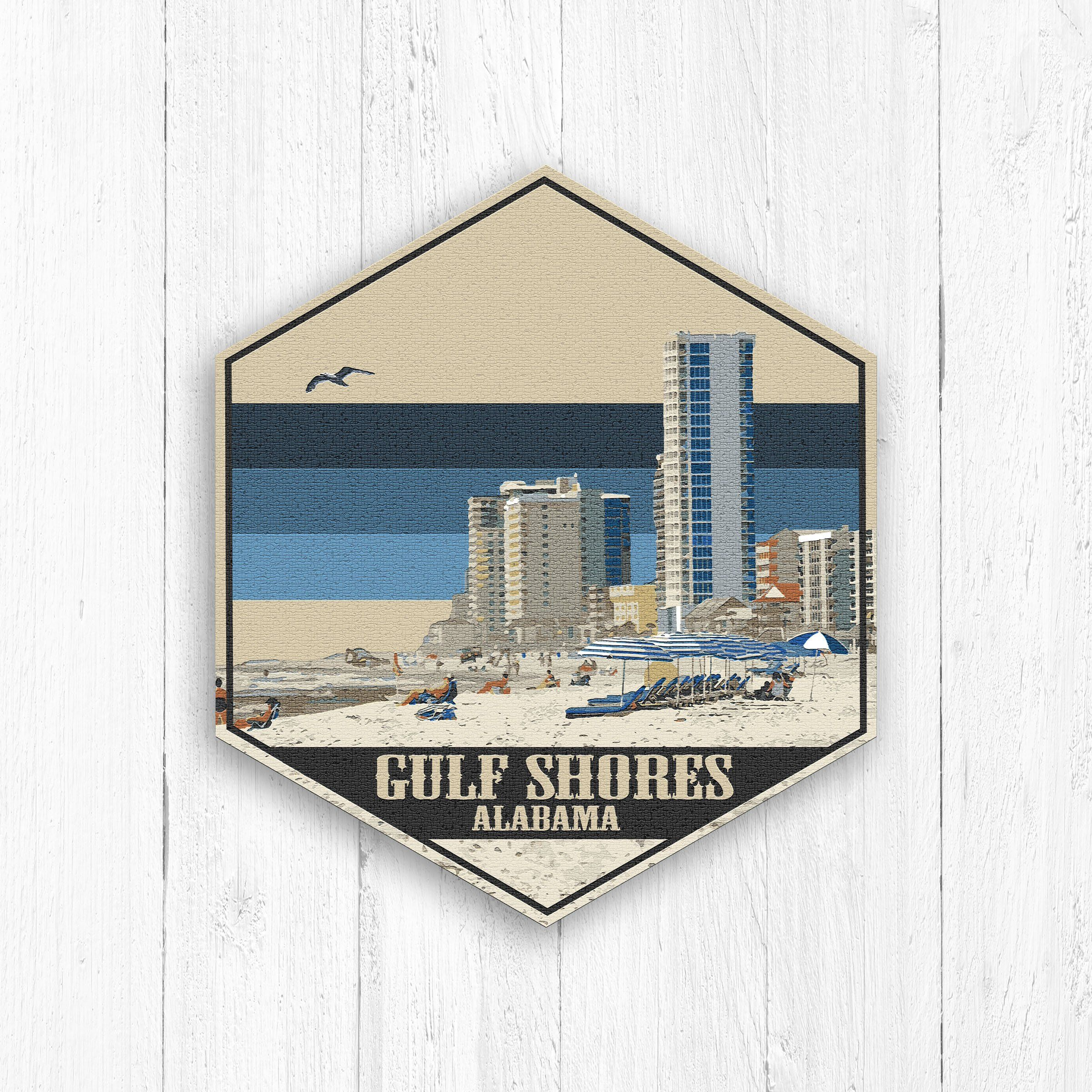 Gulf Shores Alabama Hexagon Canvas Art Travel Souvenir Or Gift
