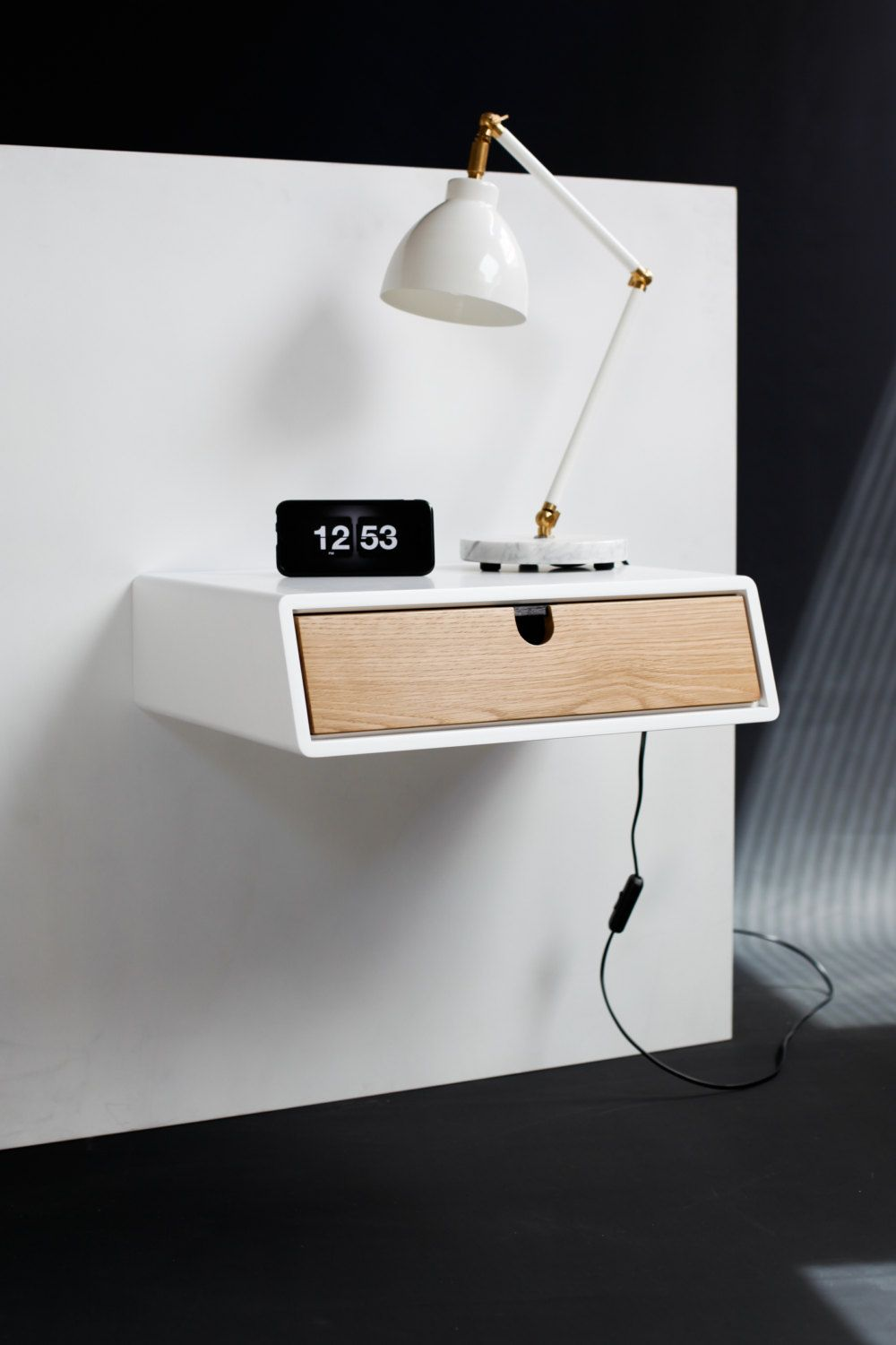 Floating White nightstand / Bedside Table / Drawer Scandinavian Mid-Century  Modern Retro Style with