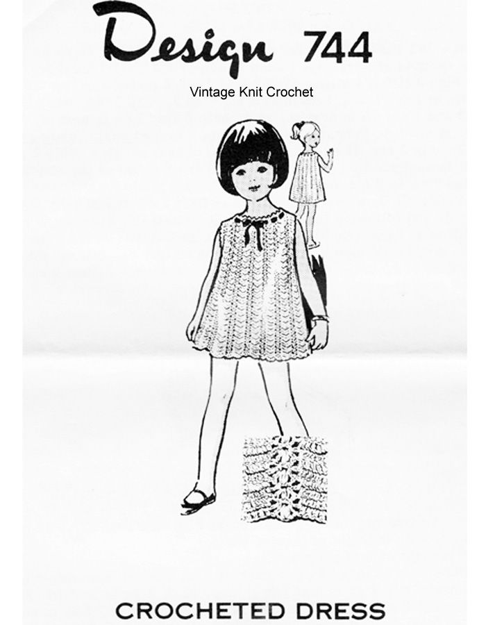 Little Girls Crocheted Lace Dress Pattern Design 744