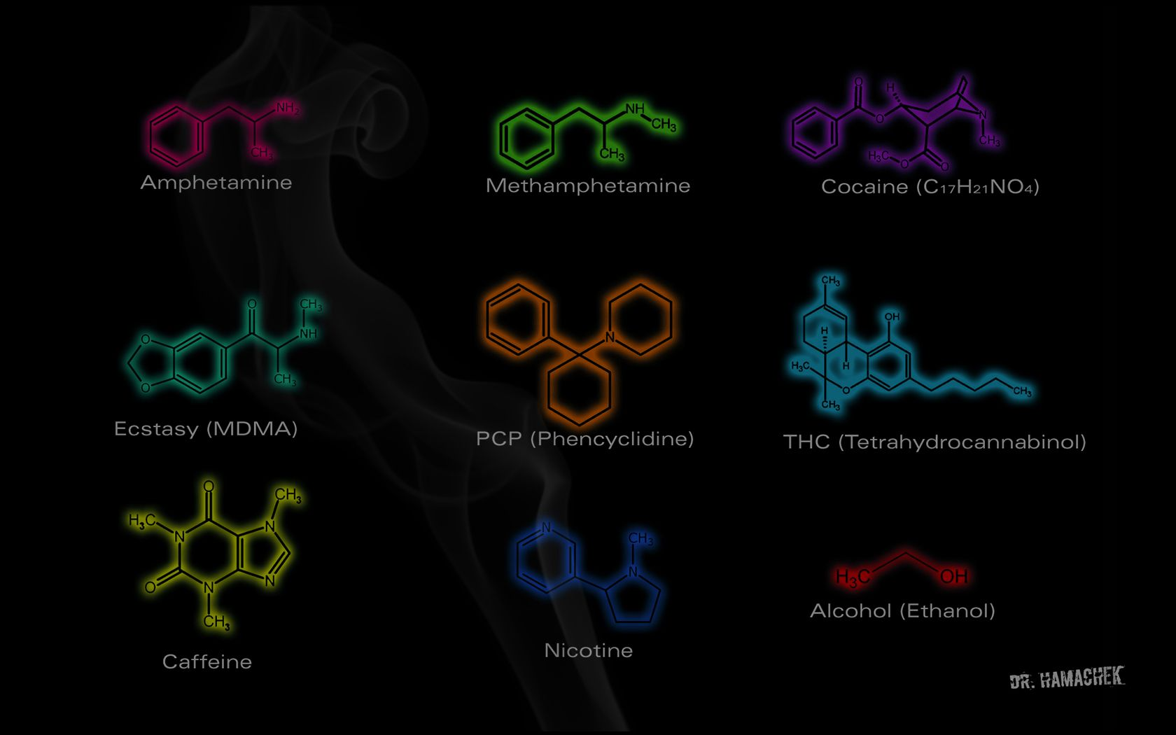 The Chemical Structure Of Some Drugs Wallpapers Chemistry