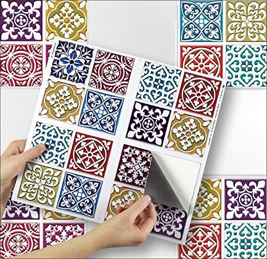 Moroccan Mosaic Sheet Of 4 Transfer Tile Stickers For X Tiles Self Adhesive Four Sticker Transfers Kitchens Bathrooms Fully Wipeable