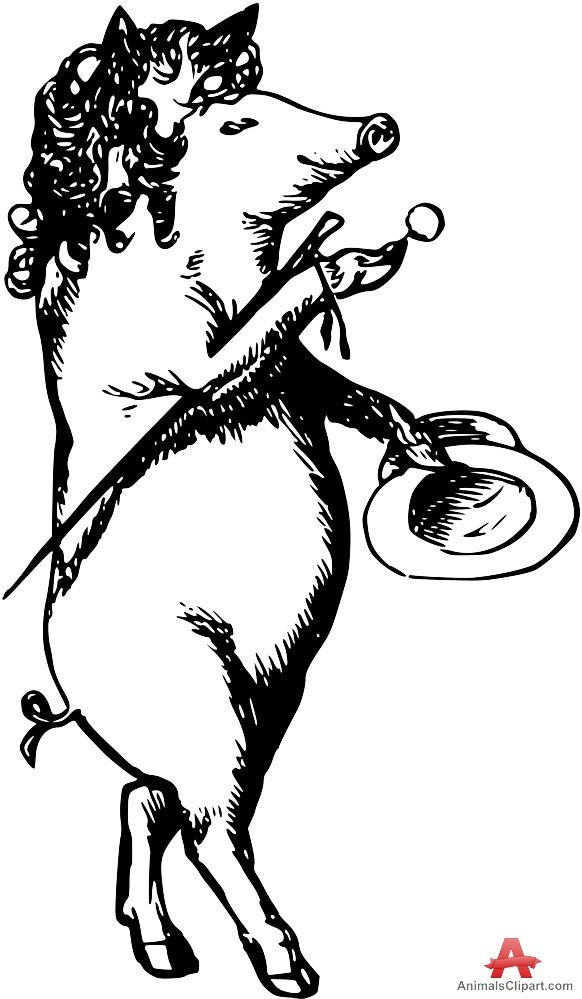 Rich Pig Walking Vintage Drawing Clipart