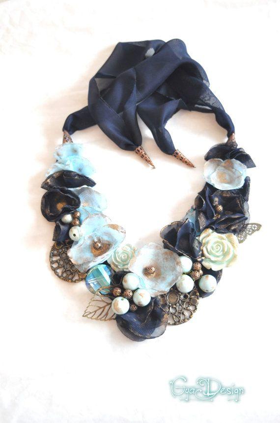 Statement turquoise necklace, bib turquoise necklace, navy blue necklace,flowers necklace, embroidery necklace, royal blue necklace, flowers