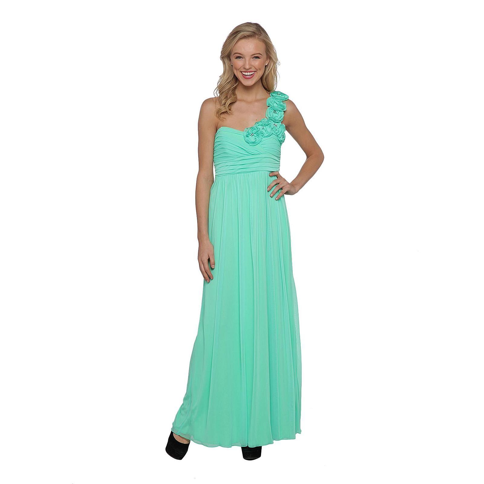 Makeup with mint green dress  Mint oneshoulder rosette prom dress arscity