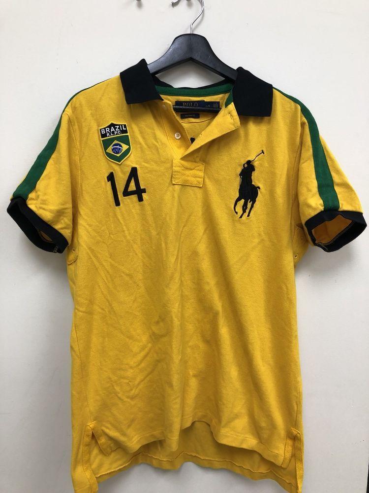 Polo Ralph Lauren Mens Yellow Brazil Stripe Big Pony Polo Shirt L Free Shipping Ebay Polo Shirt Polo Ralph Lauren Polo Ralph Lauren Mens