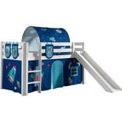 Hochbett Pino Astro Weiss Kiefer Massivholz Mit Rutsche 90x200 Cm Roller Hochbett Pino In 2020 Toy Storage Storage Hacks Roller