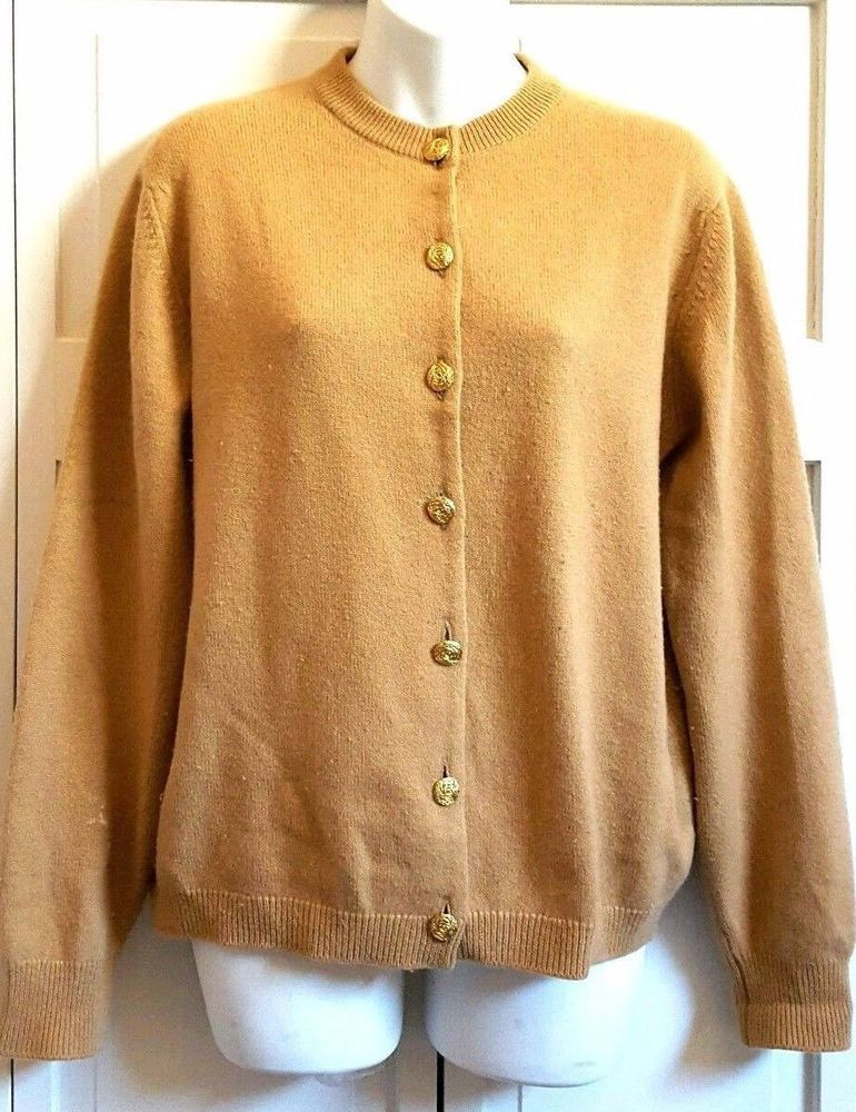 Cashmere by Pringle Cardigan Sweater Gold Buttons 107 42