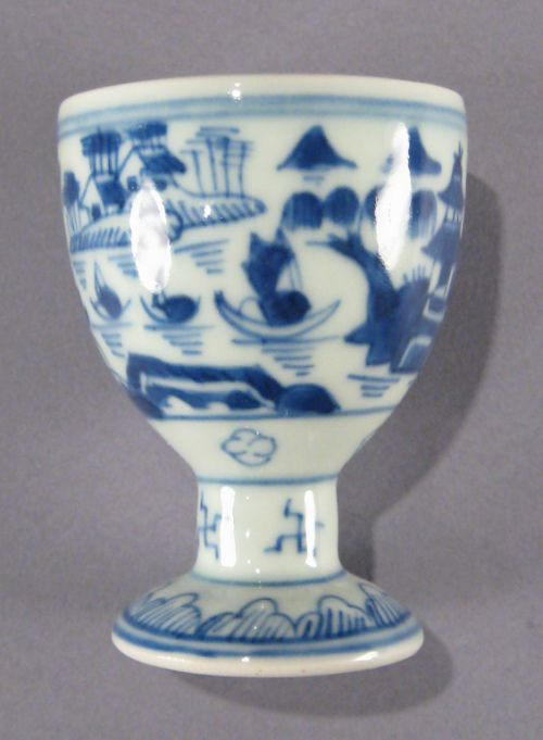 Seven Chinese Export Porcelain Blue And White Egg Cups