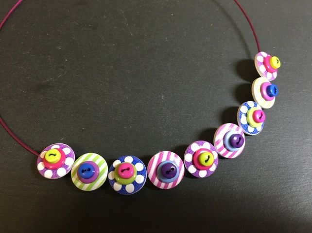 Button Necklace Spots and Stripes Wooden Button Choker Lime Purple Pink £9.50