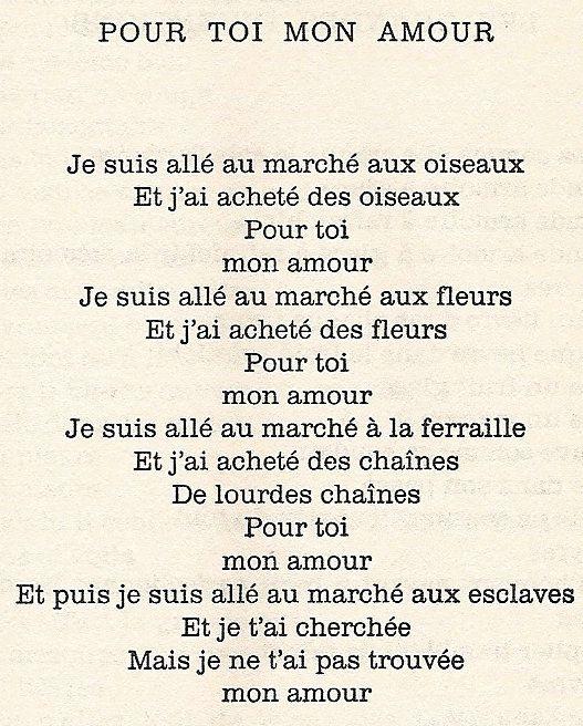 Pour Toi Mon Amour Jacques Prévert Prevert Poeme Jacques