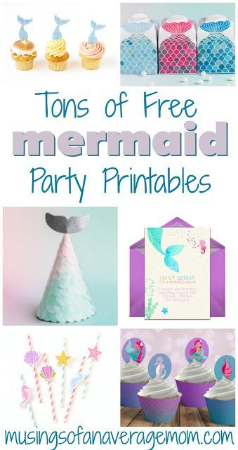 Tons of free mermaid birthday party printables including invitations cupcake toppers decorations activities party favors and more