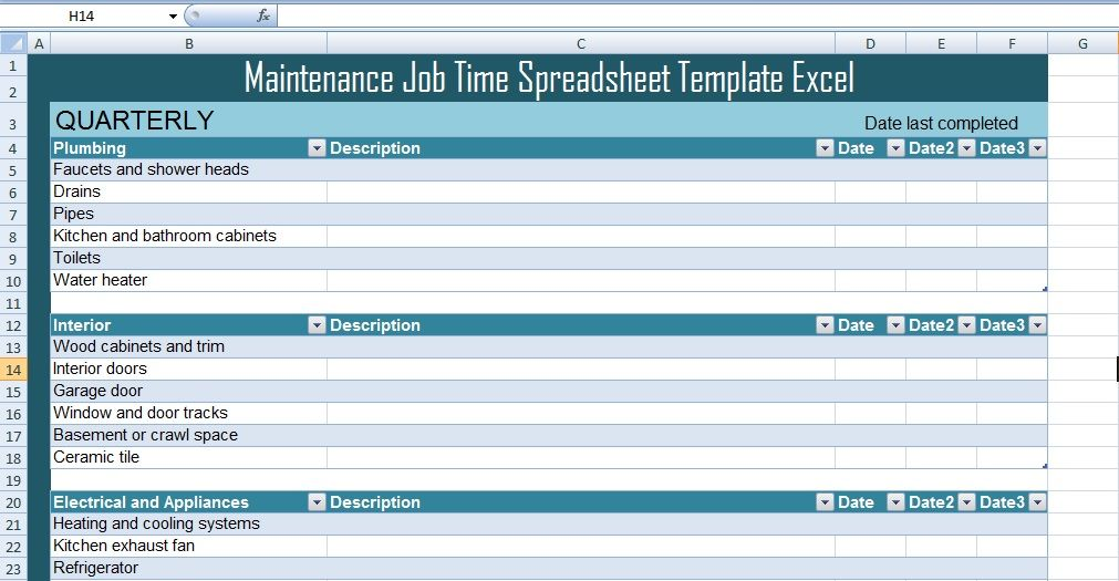 Maintenance Job Time Spreadsheet Template Excel – Excel ...