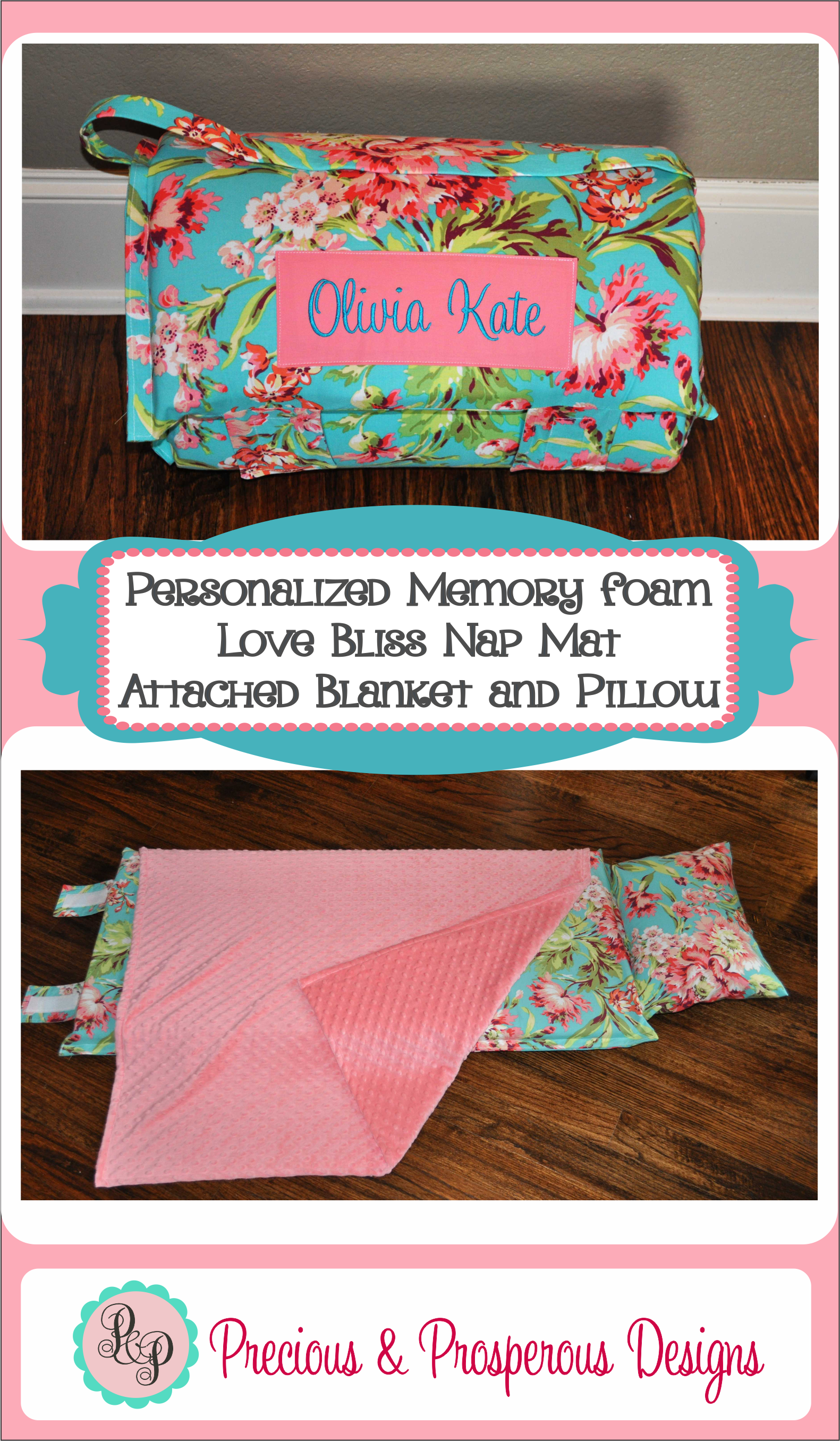 Personalized Memory Foam Nap Mat With An Attached Minky