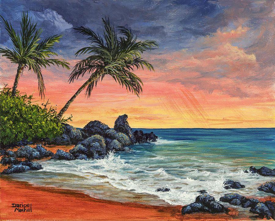 Makena Beach Sunset Sunset Painting Beach Sunset Painting Landscape Paintings