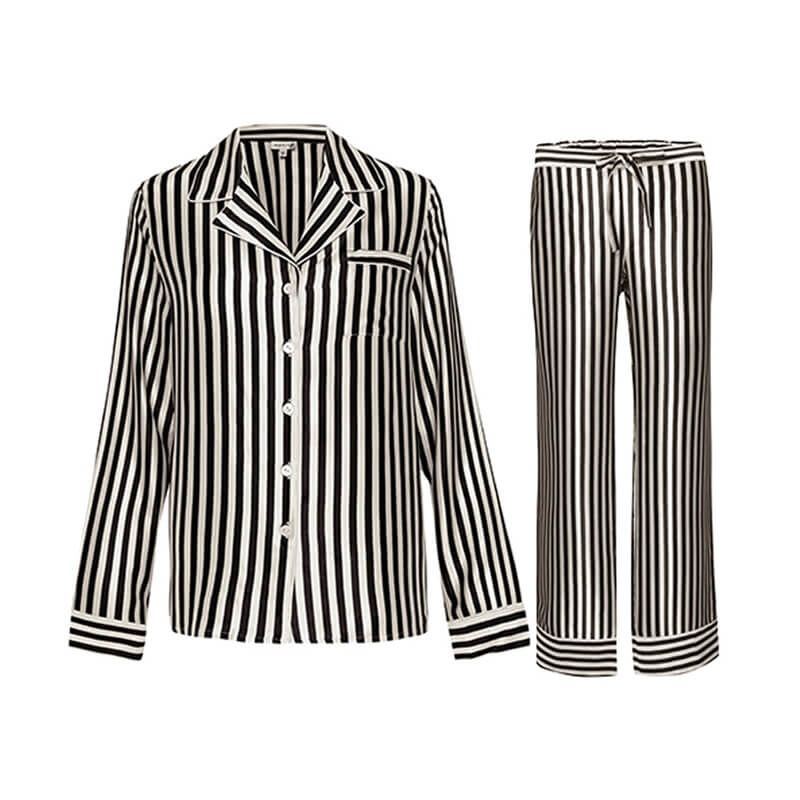9b91c3bca6dd4d Black And White Striped Silk Pajama Set For Women | Women's Silk ...