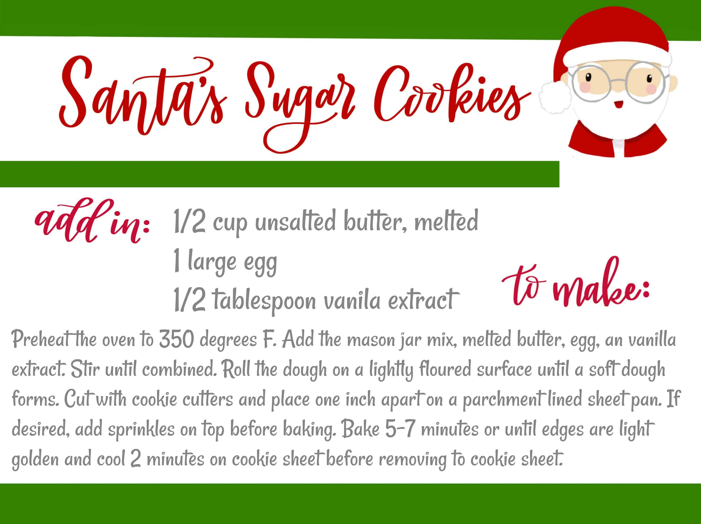 Christmas Mason Jar Desserts Santa S Sugar Cookies Free Printable Recipe Attachment Video Tutorial This Is Cookie Jar Gifts Chelsea S Messy Apron Mason Jars