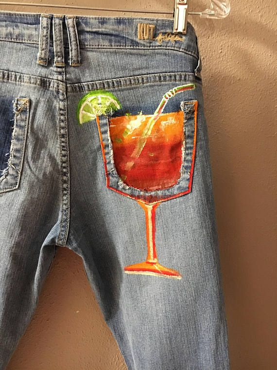 Tequila sunrise hand painted jeans/ custom order