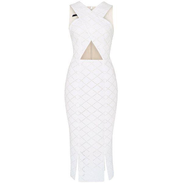 Alex Perry Corine Broderie Cross Pencil Dress (€725) ❤ liked on Polyvore featuring dresses, white, white sleeveless dress, white day dress, alex perry, knee high dresses and knee length dresses