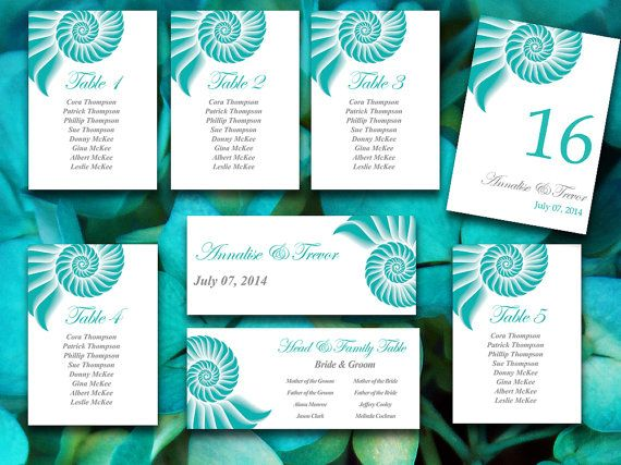 Beach Wedding Seating Chart Template Seashell Teal Gray Spiral - number chart template