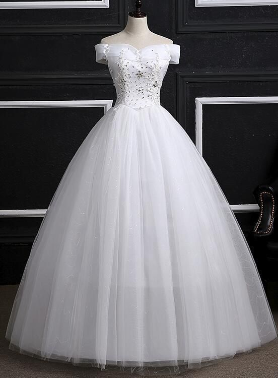Off Shoulder Wedding Gowns, Pretty White Sweet 16 Dresses, Formal ...