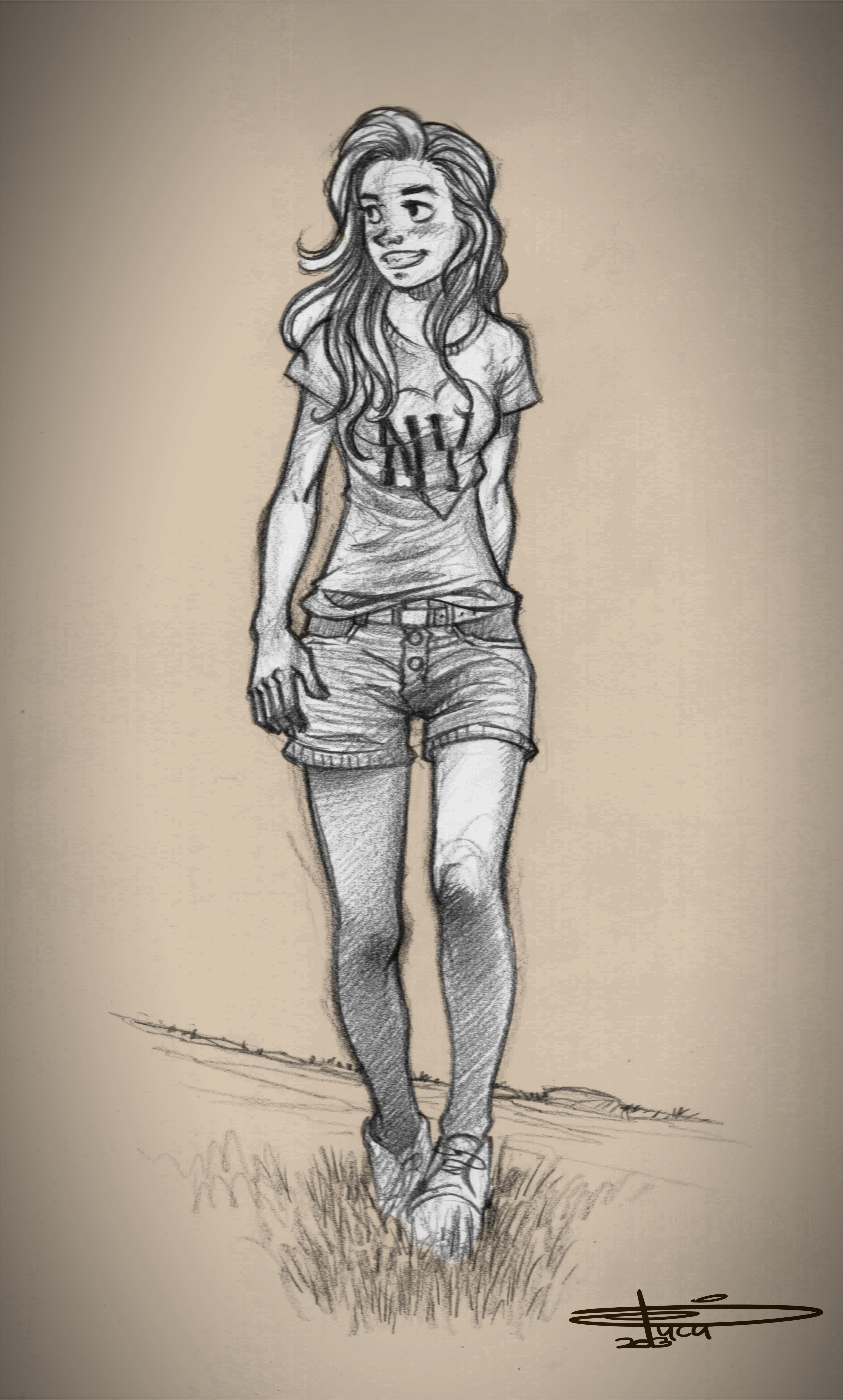 Walking Girl Sketch With Images  Girl Sketch, Sketches -7386