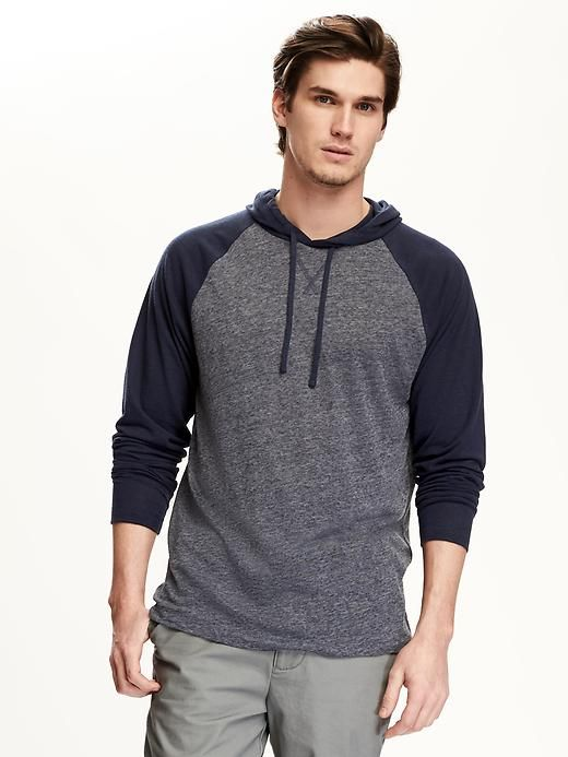Color-Block Linen-Blend Pullover Hoodie for Men