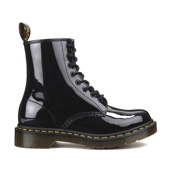 Dr Martens Women S Core 1460 W 8 Eye Patent Lamper Boots Black 465 Ils Liked On Polyvore Featuring Black Lace Boots Black Patent Boots Black Lace Shoes