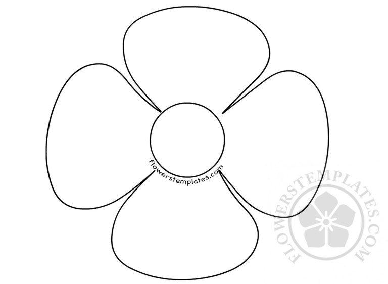 Http Flowerstemplates Com Flower 4 Petal Shape Flower Template Leaf Template Flower Crafts