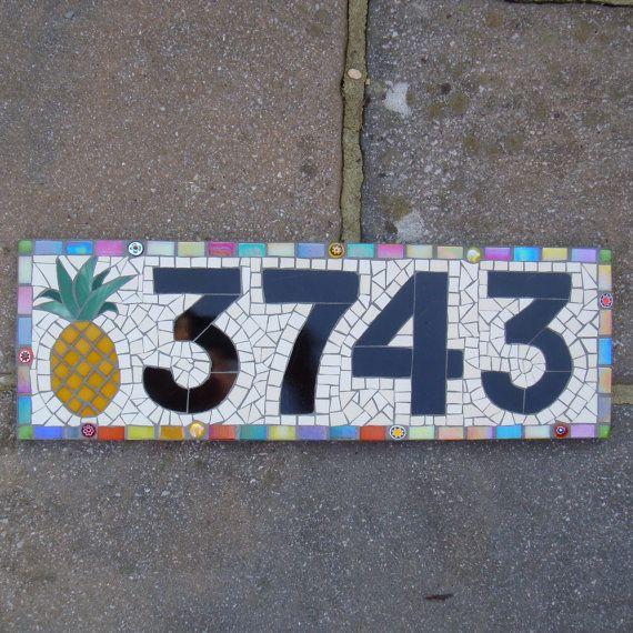 Custom Mosaic House Number Sign Plaque Street Address Yard Art