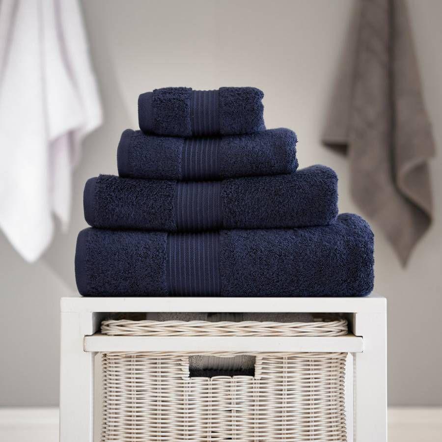 Deyongs Pima Cotton Bath Towel Navy Teal Bath Towels Towel