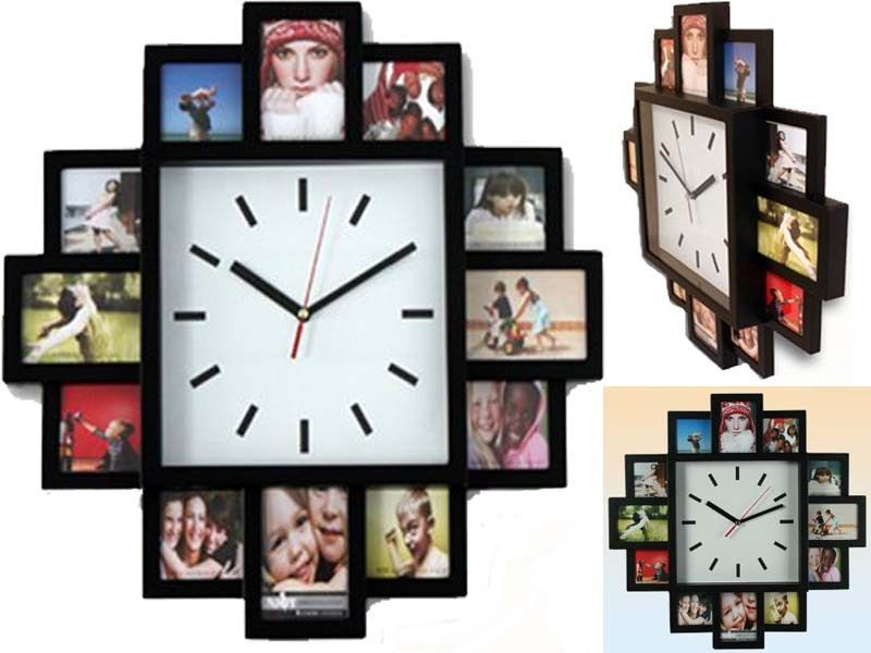 Black 12 Multi Photo Picture Wall Clock Aperture Frame Time Collage Modern Analo Ebay Wall Clock With Pictures Photo Wall Clocks Frames On Wall