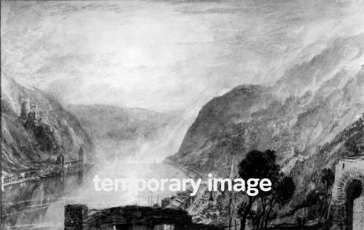 Joseph Mallord William Turner 'From Rheinfels Looking over St Goar to Katz', 1817 - Watercolour, bodycolour and scraping out on paper -  Dimensions Support: 195 x 313 mm -  Collection Currently untraced