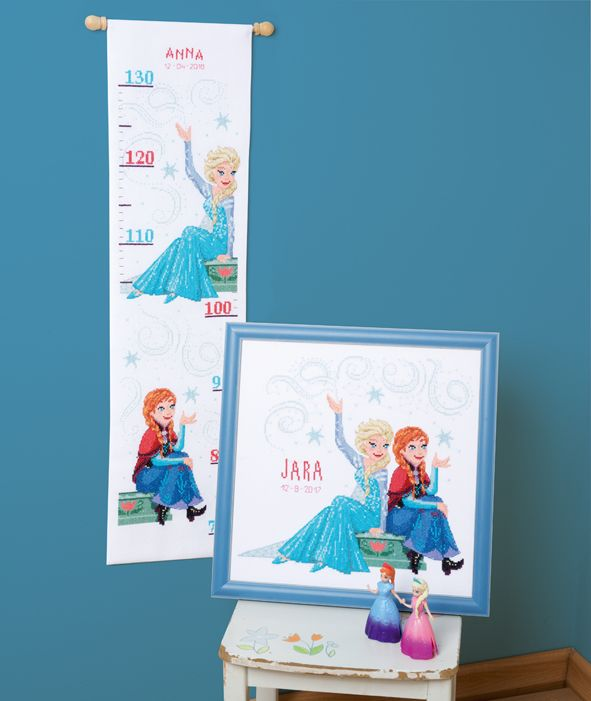 Vervaco Countingkit Ruler Diy Frozen Disney Blue Redhead Blonde Ice Magic Kids Kidsroom Diy Kit Disney Frozen Scandinavian Co Disney Borduren