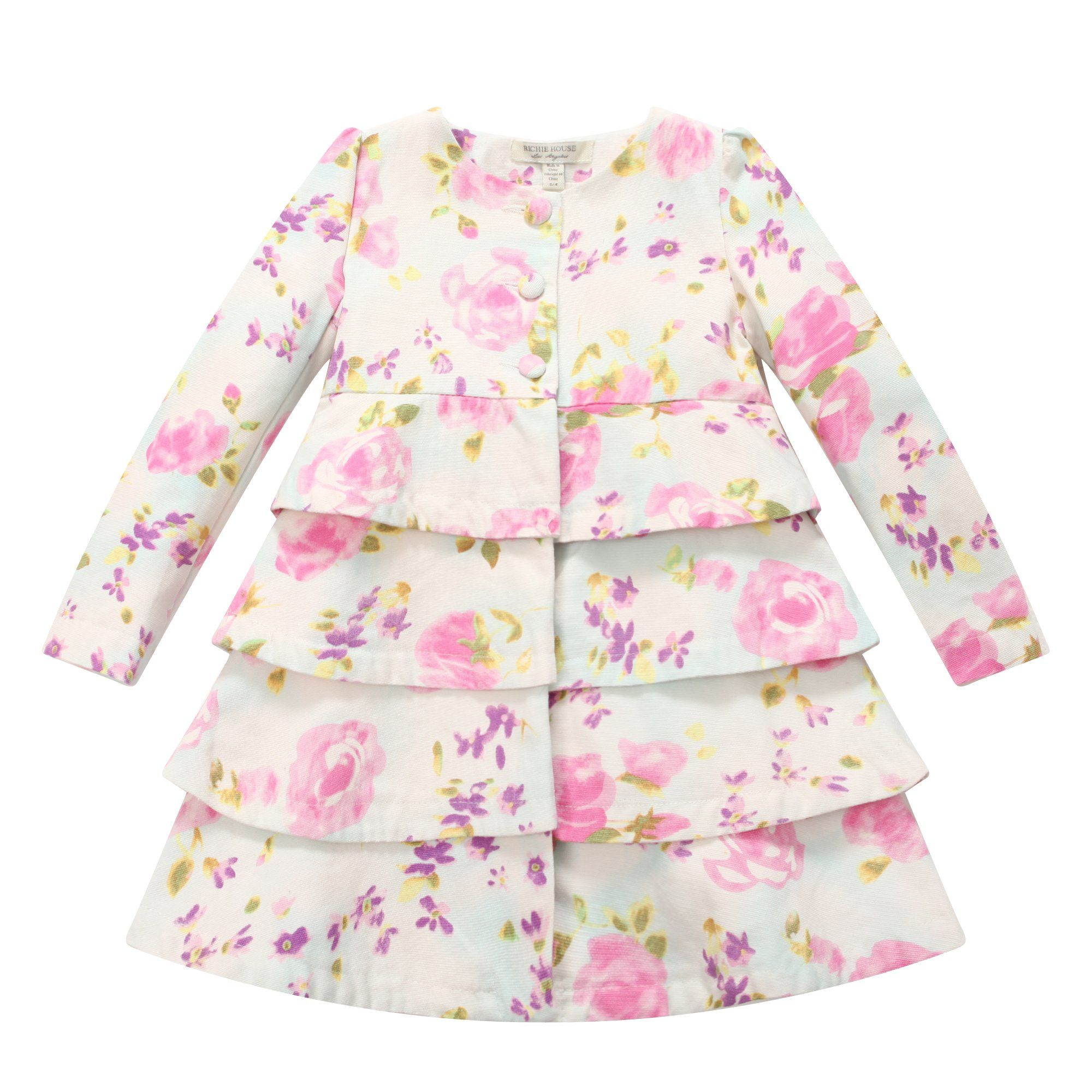 Richie House Girl's Floral Tiered Dress-coat RH0709-2/3-FBA