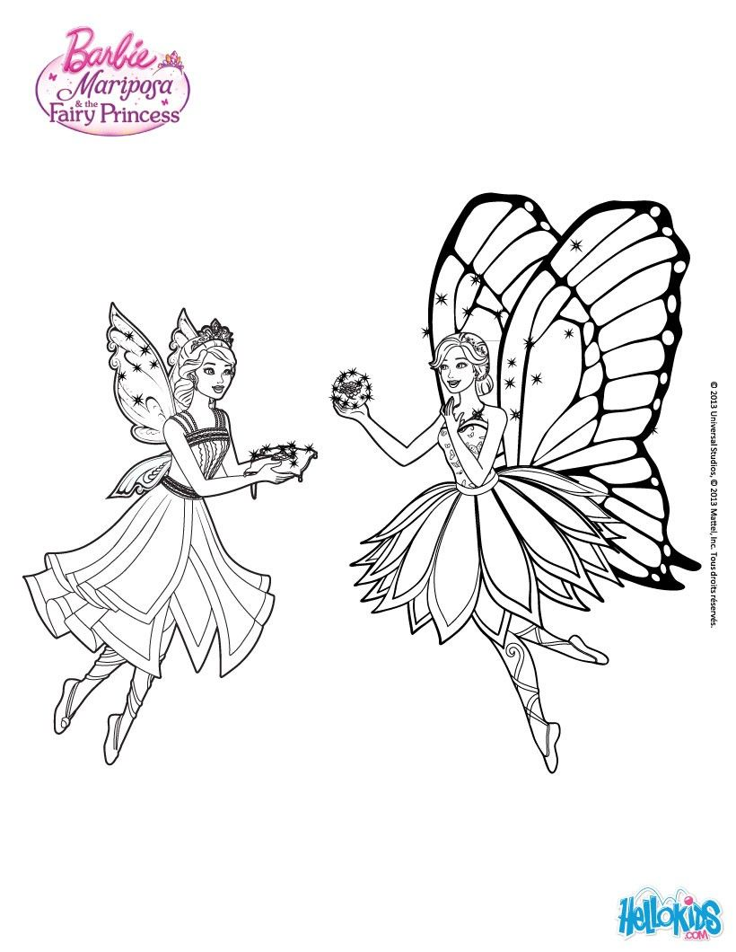 Mariposa Gives Catania A Magical Flutterfield Flower Coloring Page More Barbie Sheets On Hellokids