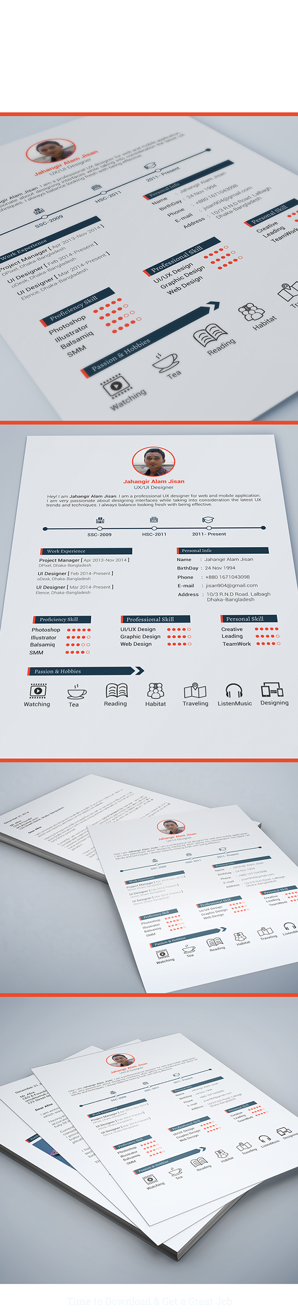 free resume template 3 page on behance - Free Resume Fonts