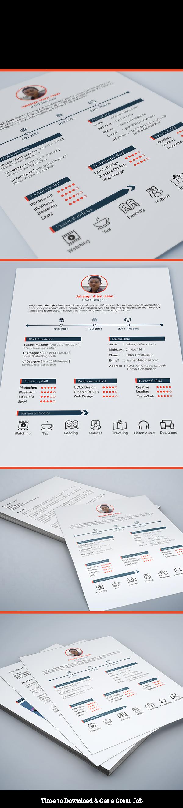 Free Resume Template 3 Page On Behance Desain Cv Kreatif Desain